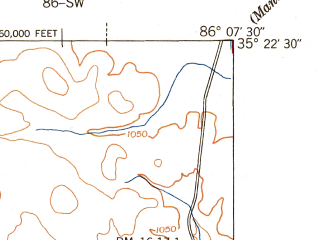 Reduced fragment of topographic map en--usgs--024k--045898--(1941)--N035-22-30_W086-15-00--N035-15-00_W086-07-30; towns and cities Tullahoma, Estill Springs