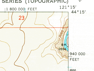 Reduced fragment of topographic map en--usgs--024k--045905--(1962)--N044-15-00_W121-22-30--N044-07-30_W121-15-00