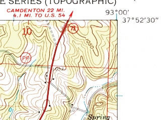 Reduced fragment of topographic map en--usgs--024k--045915--(1960)--N037-52-30_W093-07-30--N037-45-00_W093-00-00