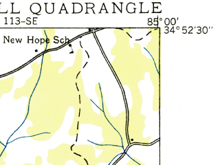 Reduced fragment of topographic map en--usgs--024k--045931--(1935)--N034-52-30_W085-07-30--N034-45-00_W085-00-00; towns and cities Tunnel Hill
