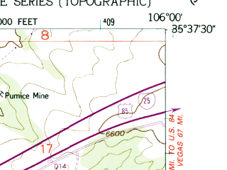 Reduced fragment of topographic map en--usgs--024k--046006--(1952)--N035-37-30_W106-07-30--N035-30-00_W106-00-00; towns and cities La Cienega