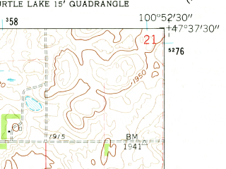 Reduced fragment of topographic map en--usgs--024k--046021--(1961)--N047-37-30_W101-00-00--N047-30-00_W100-52-30; towns and cities Turtle Lake