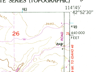Reduced fragment of topographic map en--usgs--024k--046046--(1949)--N042-52-30_W114-52-30--N042-45-00_W114-45-00