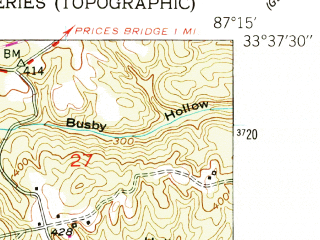 Reduced fragment of topographic map en--usgs--024k--046052--(1949)--N033-37-30_W087-22-30--N033-30-00_W087-15-00