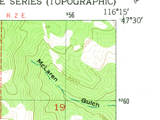 Reduced fragment of topographic map en--usgs--024k--046105--(1950)--N047-30-00_W116-22-30--N047-22-30_W116-15-00