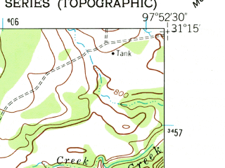 Reduced fragment of topographic map en--usgs--024k--046131--(1958)--N031-15-00_W098-00-00--N031-07-30_W097-52-30