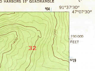 Reduced fragment of topographic map en--usgs--024k--046172--(1957)--N047-07-30_W091-45-00--N047-00-00_W091-37-30; towns and cities Two Harbors