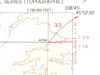 Reduced fragment of topographic map en--usgs--024k--046180--(1956)--N045-52-30_W108-52-30--N045-45-00_W108-45-00