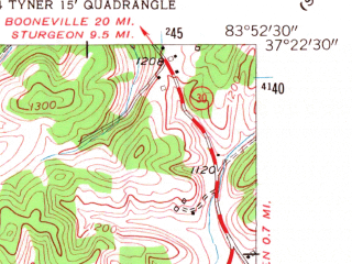Reduced fragment of topographic map en--usgs--024k--046222--(1953)--N037-22-30_W084-00-00--N037-15-00_W083-52-30; towns and cities Annville