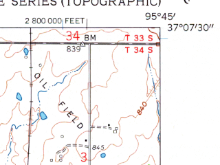 Reduced fragment of topographic map en--usgs--024k--046236--(1959)--N037-07-30_W095-52-30--N037-00-00_W095-45-00; towns and cities Tyro