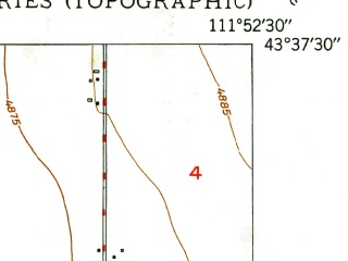 Reduced fragment of topographic map en--usgs--024k--046247--(1949)--N043-37-30_W112-00-00--N043-30-00_W111-52-30; towns and cities Iona, Ucon