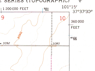 Reduced fragment of topographic map en--usgs--024k--046271--(1959)--N037-37-30_W101-22-30--N037-30-00_W101-15-00; towns and cities Ulysses