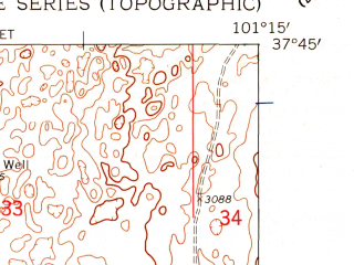 Reduced fragment of topographic map en--usgs--024k--046275--(1959)--N037-45-00_W101-22-30--N037-37-30_W101-15-00