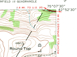Reduced fragment of topographic map en--usgs--024k--046293--(1943)--N042-52-30_W075-15-00--N042-45-00_W075-07-30