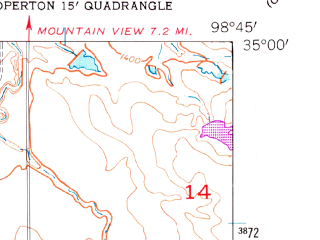 Reduced fragment of topographic map en--usgs--024k--046295--(1956)--N035-00-00_W098-52-30--N034-52-30_W098-45-00