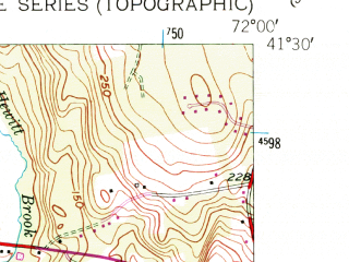 Reduced fragment of topographic map en--usgs--024k--046298--(1958)--N041-30-00_W072-07-30--N041-22-30_W072-00-00; towns and cities Uncasville-oxoboxo Valley