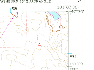Reduced fragment of topographic map en--usgs--024k--046305--(1961)--N047-30-00_W101-15-00--N047-22-30_W101-07-30; towns and cities Underwood