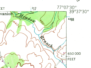 Reduced fragment of topographic map en--usgs--024k--046322--(1953)--N039-37-30_W077-15-00--N039-30-00_W077-07-30; towns and cities Union Bridge
