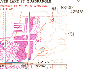 Reduced fragment of topographic map en--usgs--024k--046341--(1960)--N042-45-00_W088-07-30--N042-37-30_W088-00-00; towns and cities Union Grove