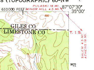 Reduced fragment of topographic map en--usgs--024k--046346--(1948)--N035-00-00_W087-15-00--N034-52-30_W087-07-30; towns and cities Lester