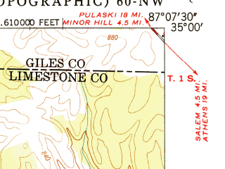 Reduced fragment of topographic map en--usgs--024k--046346--(1951)--N035-00-00_W087-15-00--N034-52-30_W087-07-30; towns and cities Lester