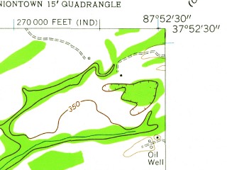 Reduced fragment of topographic map en--usgs--024k--046367--(1958)--N037-52-30_W088-00-00--N037-45-00_W087-52-30; towns and cities Uniontown