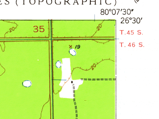 Reduced fragment of topographic map en--usgs--024k--046392--(1947)--N026-30-00_W080-15-00--N026-22-30_W080-07-30; towns and cities Kings Point, Boca West, High Point, Whisper Walk