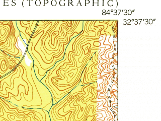 Reduced fragment of topographic map en--usgs--024k--046393--(1949)--N032-37-30_W084-45-00--N032-30-00_W084-37-30