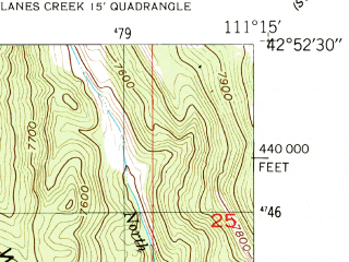 Reduced fragment of topographic map en--usgs--024k--046431--(1951)--N042-52-30_W111-22-30--N042-45-00_W111-15-00