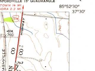 Reduced fragment of topographic map en--usgs--024k--046442--(1954)--N037-30-00_W086-00-00--N037-22-30_W085-52-30; towns and cities Bonnieville, Upton