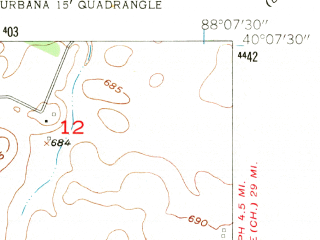 Reduced fragment of topographic map en--usgs--024k--046448--(1957)--N040-07-30_W088-15-00--N040-00-00_W088-07-30; towns and cities Urbana, Philo