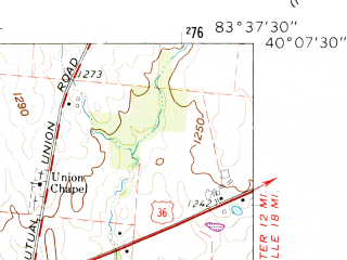 Reduced fragment of topographic map en--usgs--024k--046452--(1961)--N040-07-30_W083-45-00--N040-00-00_W083-37-30; towns and cities Mutual