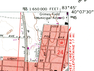 Reduced fragment of topographic map en--usgs--024k--046453--(1961)--N040-07-30_W083-52-30--N040-00-00_W083-45-00; towns and cities Urbana, Tremont City