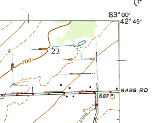 Reduced fragment of topographic map en--usgs--024k--046471--(1946)--N042-45-00_W083-07-30--N042-37-30_W083-00-00; towns and cities Rochester, Utica