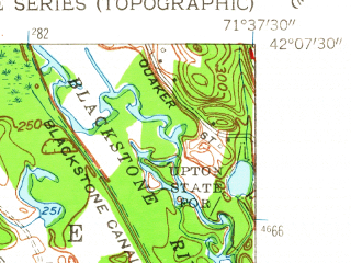Reduced fragment of topographic map en--usgs--024k--046491--(1953)--N042-07-30_W071-45-00--N042-00-00_W071-37-30; towns and cities Whitinsville, East Douglas
