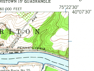 Reduced fragment of topographic map en--usgs--024k--046569--(1952)--N040-07-30_W075-30-00--N040-00-00_W075-22-30; towns and cities King Of Prussia, Berwyn, Devon, Paoli, Chesterbrook
