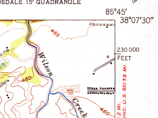 Reduced fragment of topographic map en--usgs--024k--046587--(1951)--N038-07-30_W085-52-30--N038-00-00_W085-45-00; towns and cities Valley Station, Fairdale