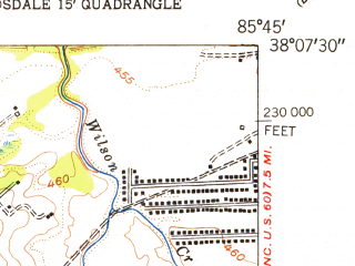 Reduced fragment of topographic map en--usgs--024k--046587--(1955)--N038-07-30_W085-52-30--N038-00-00_W085-45-00; towns and cities Valley Station, Fairdale