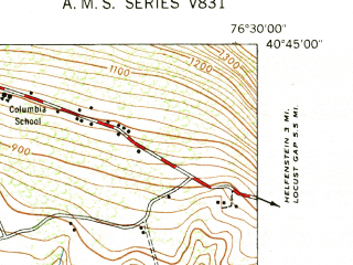 Reduced fragment of topographic map en--usgs--024k--046589--(1947)--N040-45-00_W076-37-30--N040-37-30_W076-30-00; towns and cities Valley View