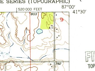 Reduced fragment of topographic map en--usgs--024k--046598--(1953)--N041-30-00_W087-07-30--N041-22-30_W087-00-00; towns and cities Valparaiso
