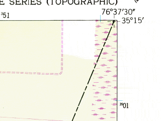 Reduced fragment of topographic map en--usgs--024k--046656--(1950)--N035-15-00_W076-45-00--N035-07-30_W076-37-30; towns and cities Mesic, Stonewall, Vandemere