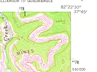 Reduced fragment of topographic map en--usgs--024k--046683--(1954)--N037-45-00_W082-30-00--N037-37-30_W082-22-30