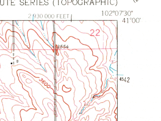 Reduced fragment of topographic map en--usgs--024k--046731--(1962)--N041-00-00_W102-15-00--N040-52-30_W102-07-30