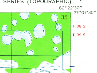 Reduced fragment of topographic map en--usgs--024k--046740--(1944)--N027-07-30_W082-30-00--N027-00-00_W082-22-30; towns and cities South Venice, Venice, Venice Gardens, Nokomis