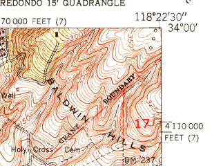 Reduced fragment of topographic map en--usgs--024k--046741--(1950)--N034-00-00_W118-30-00--N033-52-30_W118-22-30 in area of Marina Del Rey; towns and cities Manhattan Beach, El Segundo, Marina Del Rey, Ladera Heights