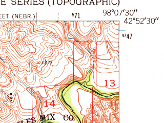 Reduced fragment of topographic map en--usgs--024k--046764--(1950)--N042-52-30_W098-15-00--N042-45-00_W098-07-30; towns and cities Verdel