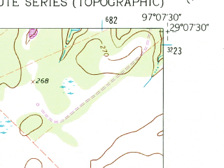 Reduced fragment of topographic map en--usgs--024k--046777--(1962)--N029-07-30_W097-15-00--N029-00-00_W097-07-30
