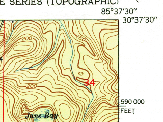 Reduced fragment of topographic map en--usgs--024k--046810--(1951)--N030-37-30_W085-45-00--N030-30-00_W085-37-30; towns and cities Vernon