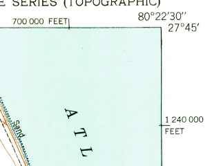 Reduced fragment of topographic map en--usgs--024k--046819--(1950)--N027-45-00_W080-30-00--N027-37-30_W080-22-30; towns and cities Vero Beach, Gifford, Indian River Shores