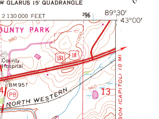 Reduced fragment of topographic map en--usgs--024k--046825--(1962)--N043-00-00_W089-37-30--N042-52-30_W089-30-00; towns and cities Verona